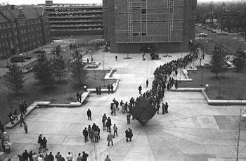 Protesters in 1970 marching across the University of Michigan Regents Plaza. (Photo courtesy of Jay Cassidy.)