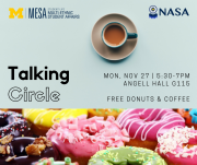 cup of coffee with multi-colored donuts and event details