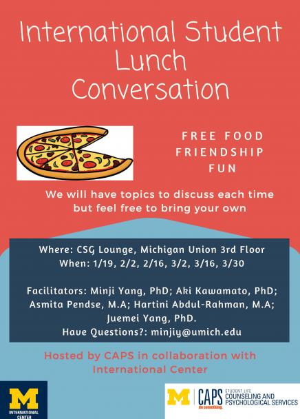 International Student Lunch Conversation flyer. Info in article.