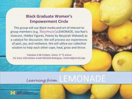 Black graduate women's support group flyer.