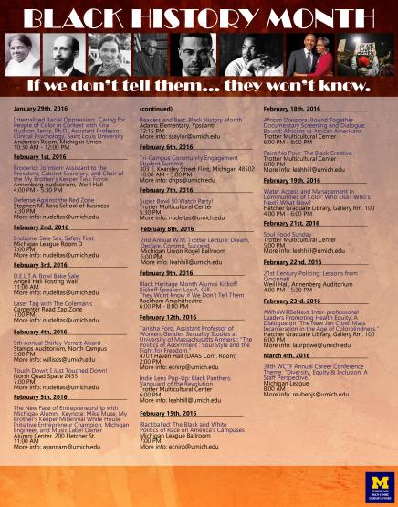 Here is a full list of events for Black History Month