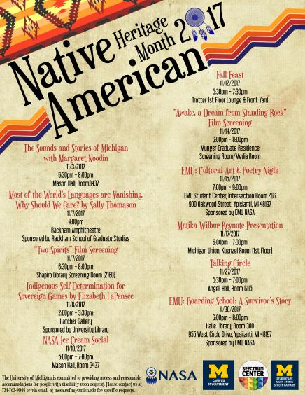 Native American Heritage Month calendar of events