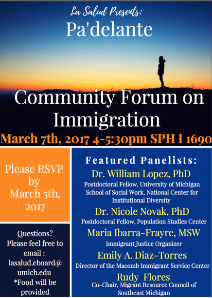 Pa'delante: Community Form on Immigration flyer. Info in article.